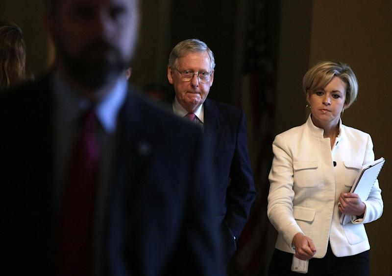 Senate Majority Leader Mitch McConnell leads Republicans in a vote to possibly change rules on Supreme Court nominees forever