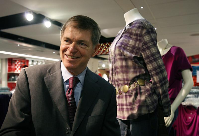 In this Oct. 23, 2009 photo, Mike Ullman, Chairman and CEO of J.C. Penney Company, Inc., visits a company store in New York. Mike Ullman was named CEO of JC Penney's after Ron Johnson was ousted on Monday, April 8, 2013, after restructuring backfired. (AP Photo/Mark Lennihan)