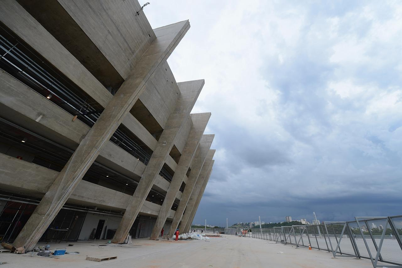 BELO HORIZONTE, BRAZIL - DECEMBER 03:  A view of the outside of the Mineirao Stadium, venue for the 2014 FIFA World Cup on December 3, 2012 in Belo Horizonte, Brazil.  (Photo by Shaun Botterill/Getty Images)