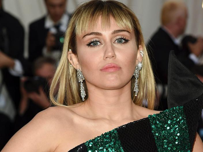 """Miley Cyrus attends The Metropolitan Museum of Art's Costume Institute benefit gala celebrating the opening of the """"Camp: Notes on Fashion"""" exhibition on Monday, May 6, 2019, in New York. <p class=""""copyright"""">Evan Agostini/Invision/AP</p>"""