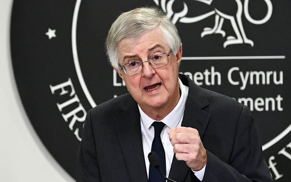 First Minister of Wales Mark Drakeford speaks during a press conference - Getty