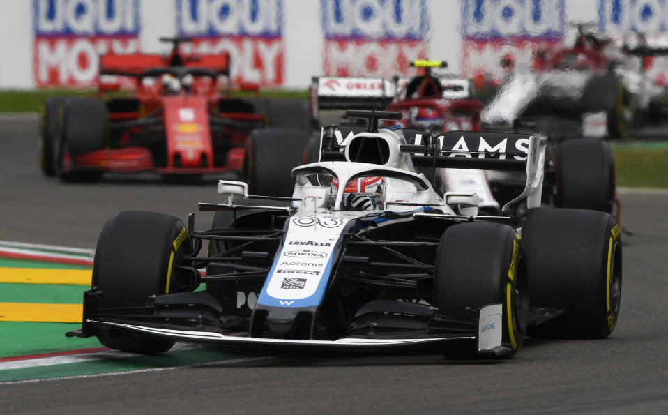 Williams driver George Russell of Britain steers his car during the Emilia Romagna Formula One Grand Prix, at the Enzo and Dino Ferrari racetrack, in Imola, Italy, Sunday, Nov.1, 2020. (Rudy Carezzevoli, Pool via AP)