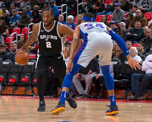 "<a class=""link rapid-noclick-resp"" href=""/nba/players/4896/"" data-ylk=""slk:Kawhi Leonard"">Kawhi Leonard</a> has officially been ruled out for the Spurs' first playoff game against the Warriors on Saturday. (Getty Images)"