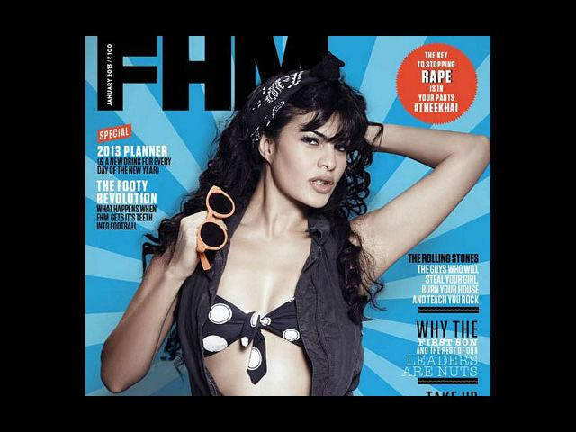 <b>5) Jacqueline Fernandez for FHM, January</b><br>Looking absolutely sizzling and raunchy on the cover of FHM is Sri Lankan hottie, JacquelineFernandez. She wears a jumpsuit by Diesel, unzipped to show-off her polka dot bikini top by Roxy.