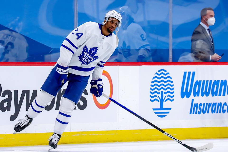 WINNIPEG, MB - APRIL 22: Wayne Simmonds #24 of the Toronto Maple Leafs takes part in the pre-game warm up prior to NHL action against the Winnipeg Jets at the Bell MTS Place on April 22, 2021 in Winnipeg, Manitoba, Canada. (Photo by Darcy Finley/NHLI via Getty Images)