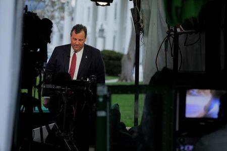 New Jersey Governor Chris Christie appears in a live television segment from the White House in Washington, U.S., March 29, 2017.  REUTERS/Jonathan Ernst