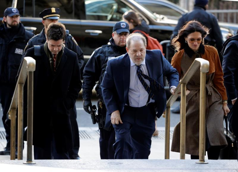 Former Hollywood producer Harvey Weinstein (C) arrives for his sexual assault trial at New York State Supreme Court in New York, New York, USA, 14 February 2020. EFE/EPA/JASON SZENES