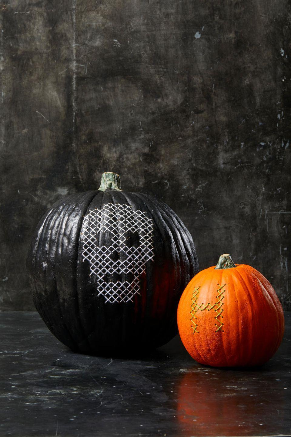 "<p>This project is a bit involved, but totally worth it. Start by downloading and printing our <a href=""https://hmg-prod.s3.amazonaws.com/files/ghkhalloween-crossstitchtemplate-1564418483.pdf?tag=syn-yahoo-20&ascsubtag=%5Bartid%7C10055.g.1714%5Bsrc%7Cyahoo-us"" rel=""nofollow noopener"" target=""_blank"" data-ylk=""slk:Cross Stitch Pumpkin templates"" class=""link rapid-noclick-resp"">Cross Stitch Pumpkin templates</a> or creating your own. Tape the template onto a faux or real (hollowed) pumpkin. Using an awl, punch holes through the the pink holes on the paper template and into the pumpkin. Remove the template, then use a needle and embroidery thread to create ""X"" patterns between the dots.</p><p><a class=""link rapid-noclick-resp"" href=""https://www.amazon.com/Woration-High-Grade-Artificial-Decoration-Thanksgiving/dp/B07VJ3NV31/?tag=syn-yahoo-20&ascsubtag=%5Bartid%7C10055.g.1714%5Bsrc%7Cyahoo-us"" rel=""nofollow noopener"" target=""_blank"" data-ylk=""slk:SHOP FAUX PUMPKINS"">SHOP FAUX PUMPKINS</a></p>"