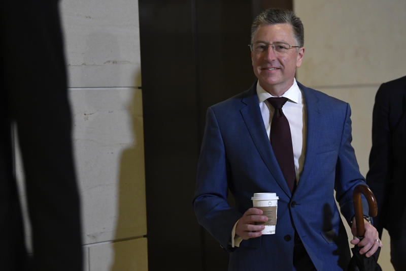 Kurt Volker, President Donald Trump's former special envoy to Ukraine, arrives on Capitol Hill in Washington, Wednesday, Oct. 16, 2019. (AP Photo/Susan Walsh)