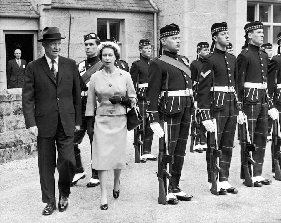 "<p>During his visit to Balmoral (<em>pictured</em><em> here</em>)Queen Elizabeth II treated then-President Dwight Eisenhower and his wife Mamie to her drop scones, a sweet also known as scotch pancakes. <a class=""link rapid-noclick-resp"" href=""https://www.townandcountrymag.com/leisure/dining/news/a9134/queen-elizabeth-drop-scones-recipe/"" rel=""nofollow noopener"" target=""_blank"" data-ylk=""slk:Get the recipe"">Get the recipe</a></p>"