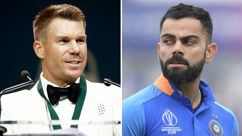 David Warner (pictured left) speaking during the Allan Border Medal and Virat Kohli (pictured right) looking frustrated after getting out.
