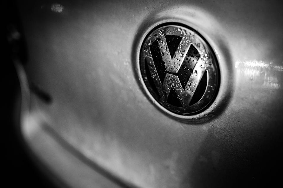 BERLIN, GERMANY - JANUARY 09: (EDITORS NOTE: Image has been converted to black and white.) The emblem of VW (Volkswagen) is pictured on January 09, 2019 in Berlin, Germany.(Photo by Florian Gaertner/Photothek via Getty Images)