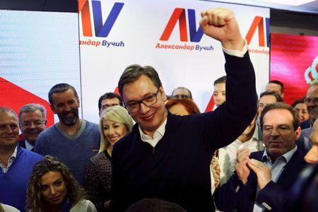 Serbian Prime Minister and presidential candidate Aleksandar Vucic celebrates his win in presidential election at his headquarters in Belgrade
