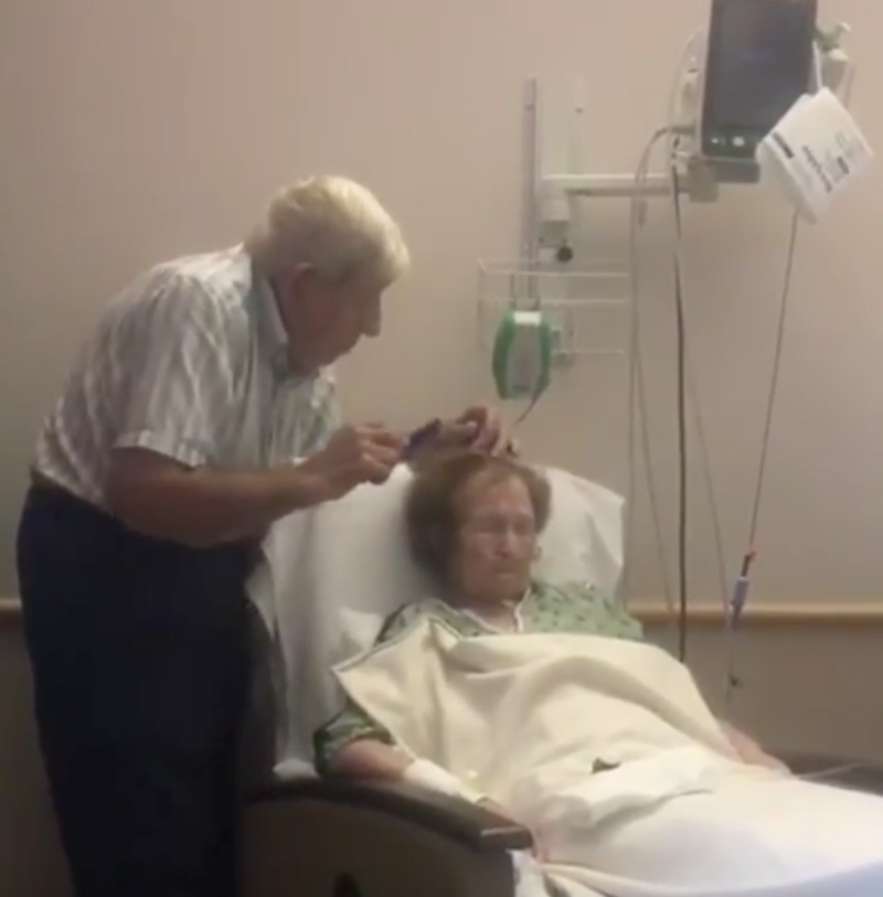 This Video of an Elderly Man Tenderly Combing His Ill Wife's Hair Gives Us All the Feels