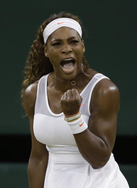 Serena Williams of the United States reacts after winning a point as she plays Kimiko Date-Krumm of Japan during their Women's singles match at the All England Lawn Tennis Championships in Wimbledon, London, Saturday, June 29, 2013. (AP Photo/Anja Niedringhaus)