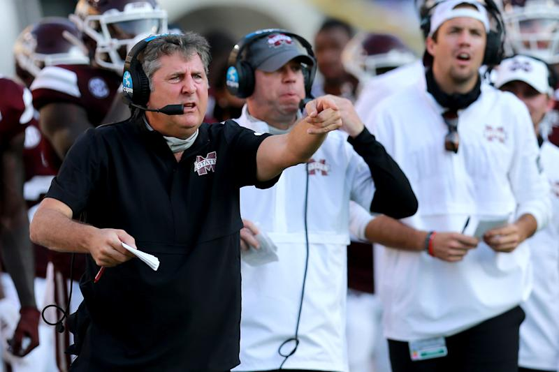 Mike Leach of the Mississippi State Bulldogs looks on as his team takes on the LSU Tigers on Saturday. (Sean Gardner/Getty Images)