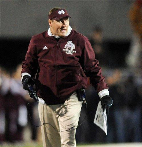 Mississippi State Coach Dan Mullen yells after a penalty on his team against Mississippi during their NCAA college football game in Oxford, Miss., Saturday, Nov. 24, 2012. (AP Photo/Oxford Eagle, Bruce Newman)