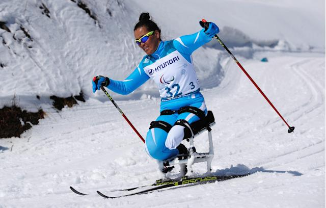 Cross-Country Skiing - Pyeongchang 2018 Winter Paralympics - Ladies' 12 KM - Sitting - Alpensia Biathlon Centre - Pyeongchang, South Korea - March 11, 2018 - Zhanyl Baltabayeva of Kazakhstan competes. REUTERS/Carl Recine