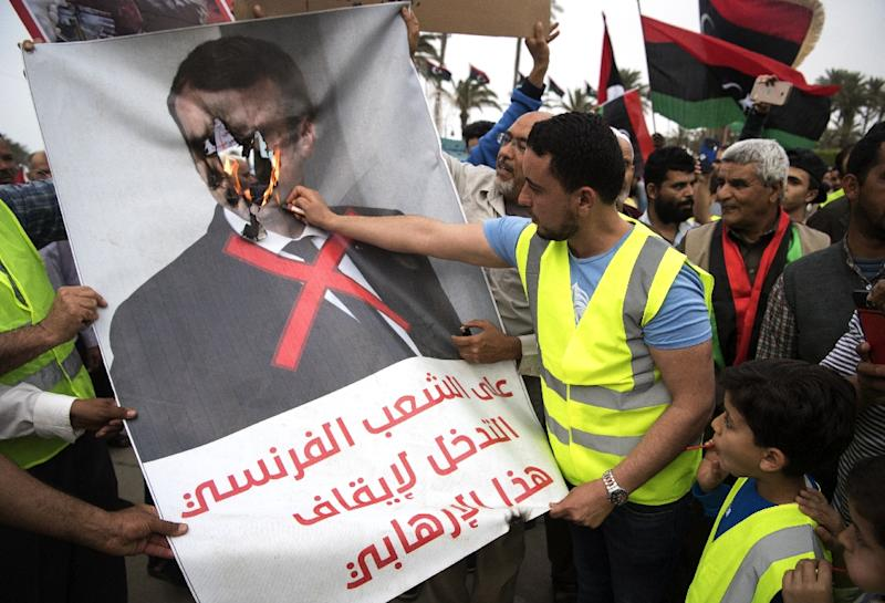 Libyans angered by perceived French support for strongman Khalifa Haftar have protested against President Emmanuel Macron (AFP Photo/FADEL SENNA)