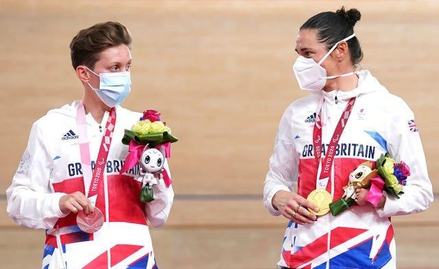 Great Britain's Crystal Lane-Wright, left, and Dame Sarah Storey once again shared a podium