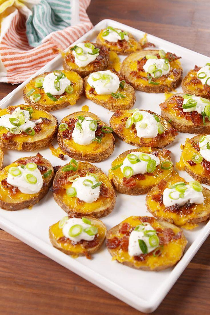 """<p>Pro tip: Make these extra healthy by swapping the sour cream for plain nonfat yogurt.</p><p>Get the recipe from <a href=""""https://www.delish.com/cooking/recipe-ideas/recipes/a51179/potato-skin-bites-recipe/"""" rel=""""nofollow noopener"""" target=""""_blank"""" data-ylk=""""slk:Delish"""" class=""""link rapid-noclick-resp"""">Delish</a>.</p>"""