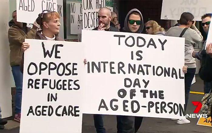 Protestors gathered in Eltham in Melbourne to make their point. Image: 7News