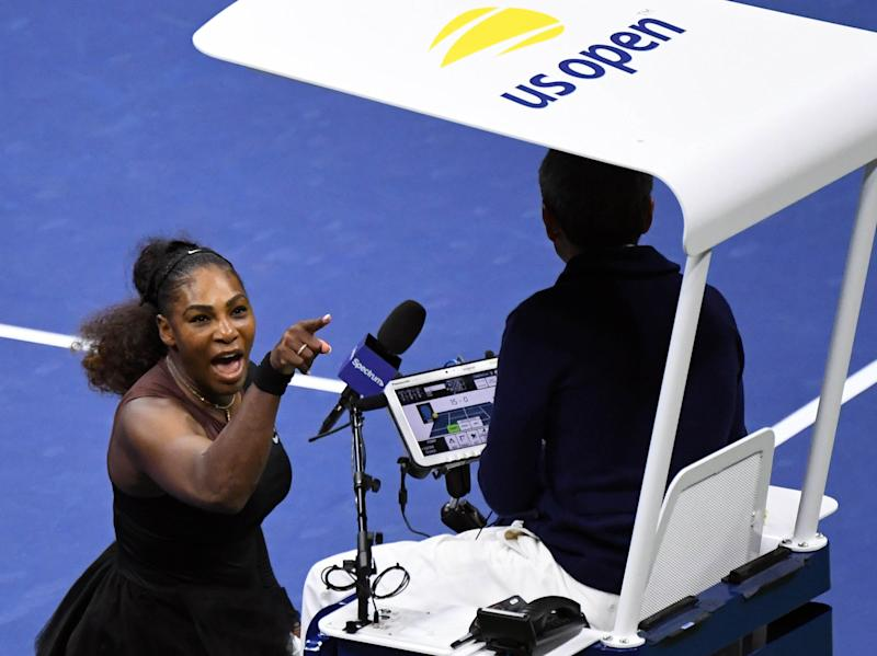 Serena Williams confronts chair umpire Carlos Ramos during the U.S. Open final that she ultimately lost to Naomi Osaka. (USA Today Sports / Reuters)