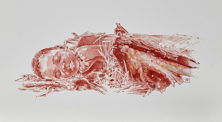 """<span class=""""caption"""">An artist's impression of Mtoto's burial.</span> <span class=""""attribution""""><span class=""""source"""">Fernando Fueyo</span>, <span class=""""license"""">Author provided</span></span>"""