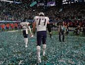 <p>New England Patriots' Johnson Bademosi (29) and Nate Solder walk off the field after the NFL Super Bowl 52 football game against the Philadelphia Eagles Sunday, Feb. 4, 2018, in Minneapolis. The Eagles won 41-33. (AP Photo/Mark Humphrey) </p>