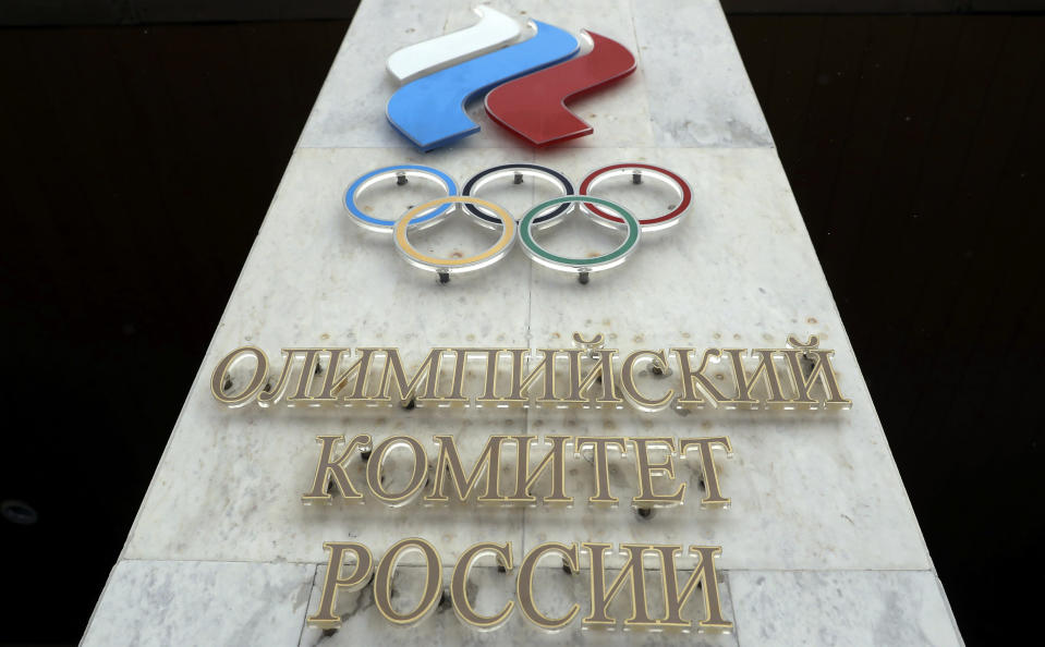 FILE - In this file photo dated Wednesday, Dec. 6, 2017, the logo of the Russian Olympic Committee at the entrance of the head office in Moscow, Russia. The ruling on whether Russia can keep its name and flag for the Olympics will be announced on Thursday Dec. 17, 2020. The Court of Arbitration for Sport said Wednesday that three of its arbitrators held a four-day hearing last month in the dispute between the World Anti-Doping Agency and its Russian affiliate, known as RUSADA. (AP Photo/Pavel Golovkin, File)