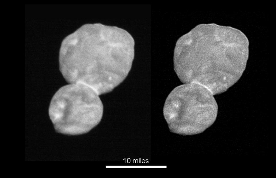 This image made available by NASA on Wednesday, Jan. 2, 2019 shows the size and shape of the object Ultima Thule, about 1 billion miles beyond Pluto. The New Horizons spacecraft encountered it on Tuesday, Jan. 1, 2019. (NASA via AP)