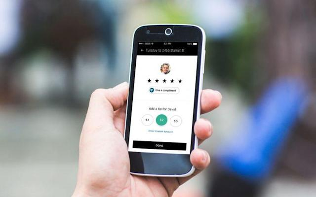 Uber has finally begun rolling out a tipping feature. Source: Uber