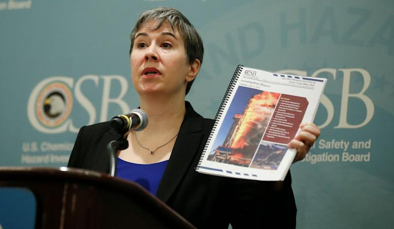 Kristen Kulinowski, the interim director of the U.S. Chemical Safety Board, holds a copy of the agency's report on the Pryor Trust blowout, which was released Wednesday. (Photo: ASSOCIATED PRESS)
