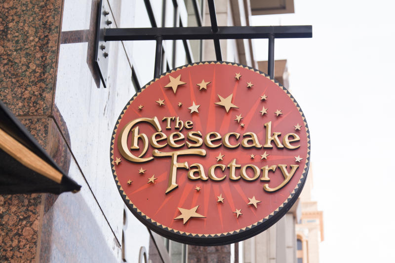 Denver, USA - September 11, 2011: Cheesecake Factory sign on a building; a chain of restaurants specialized in cheesecakes