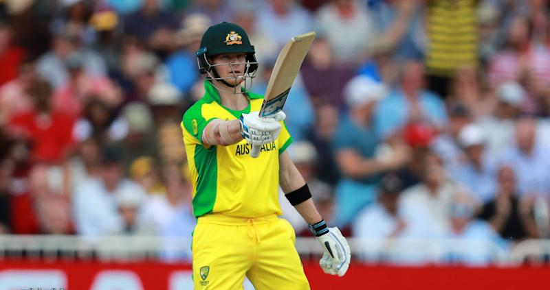 Steve Smith of Australia celebrates his half century during the Group Stage match of the ICC Cricket World Cup 2019 between Australia and the West Indies at Trent Bridge on June 06, 2019 in Nottingham, England. (Photo by David Rogers/Getty Images)