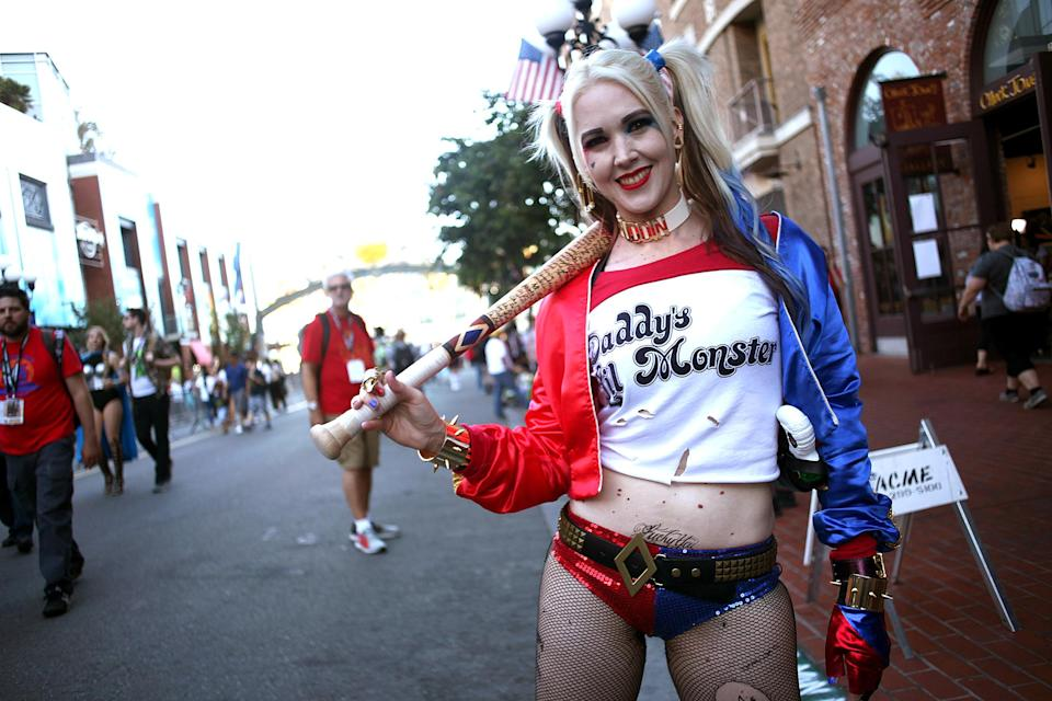 <p>Cosplayer dressed as Harley Quinn at Comic-Con International on July 19, 2018, in San Diego. (Photo: Tommaso Boddi/Getty Images) </p>