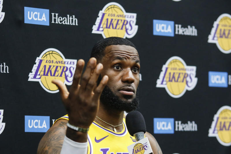 Los Angeles Lakers forward LeBron James speaks during the NBA basketball team's media day in El Segundo, Calif., Friday, Sept. 27, 2019. (AP Photo/Ringo H.W. Chiu)
