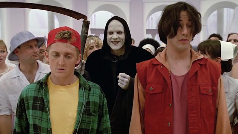 Alex Winter, William Sadler and Keanu Reeves in 'Bill & Ted's Bogus Journey'. (Credit: Orion)