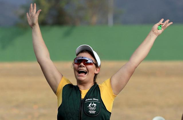 <p>Catherine Skinner of Australia reacts to winning the Women's Trap event during the shooting competition on Day 2 of the Rio 2016 Olympic Games at the Olympic Shooting Centre on August 7, 2016 in Rio de Janeiro, Brazil. (Photo by Sam Greenwood/Getty Images) </p>