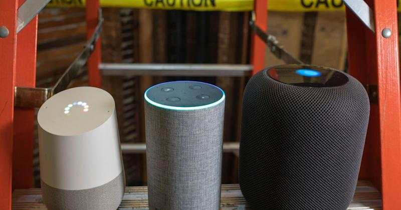 Apple HomePod, Google Home and Amazon Echo devices