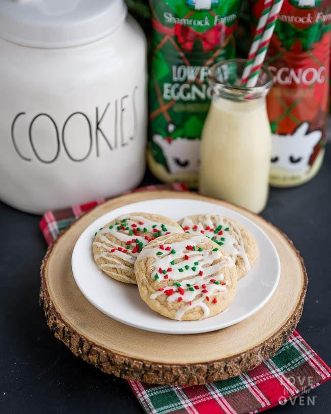 """<p>Add this idea to the top of your eggnog recipes to make this year. It features the holiday beverage in both the cookie and the icing.</p><p><strong>Get the recipe at <a href=""""https://www.lovefromtheoven.com/eggnog-cookies/"""" rel=""""nofollow noopener"""" target=""""_blank"""" data-ylk=""""slk:Love From the Oven"""" class=""""link rapid-noclick-resp"""">Love From the Oven</a>.</strong></p><p><strong><a class=""""link rapid-noclick-resp"""" href=""""https://www.amazon.com/Tebery-Pack-Cooling-Racks-Baking/dp/B078Y316M5?tag=syn-yahoo-20&ascsubtag=%5Bartid%7C10050.g.647%5Bsrc%7Cyahoo-us"""" rel=""""nofollow noopener"""" target=""""_blank"""" data-ylk=""""slk:SHOP COOLING RACKS"""">SHOP COOLING RACKS</a><br></strong></p>"""