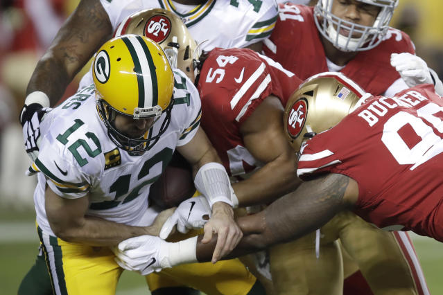 Green Bay Packers quarterback Aaron Rodgers struggled in a loss to the 49ers. (AP Photo/Ben Margot)