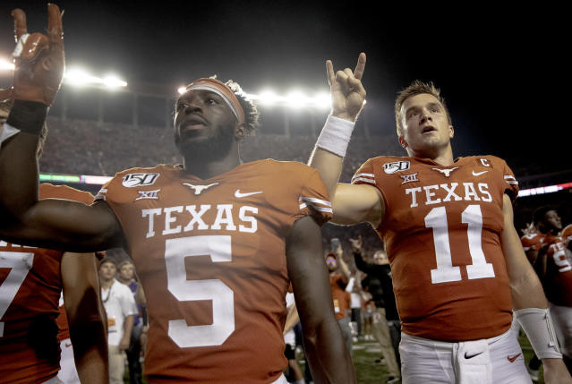 Texas is 3-1 after beating Oklahoma State on Saturday. (Nick Wagner/Austin American-Statesman via AP)