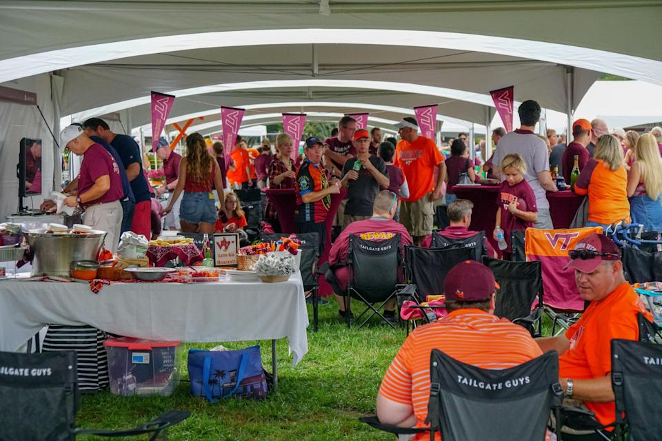 A Tailgate Guys tailgate is hosted at Virginia Tech in Blacksburg, Virginia. Since starting at Auburn University, the company now hosts tailgates at over 43 stadiums around the country.