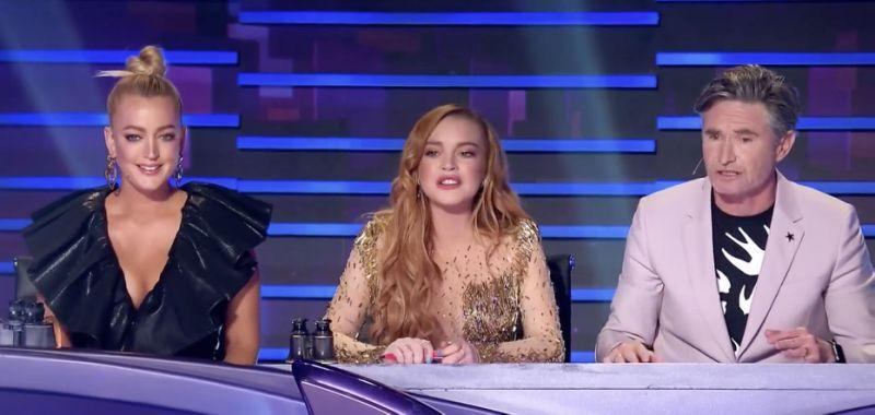 The Masked Singer judging panel featuring Jackie O Henderson, Lindsay Lohan and David Hughes