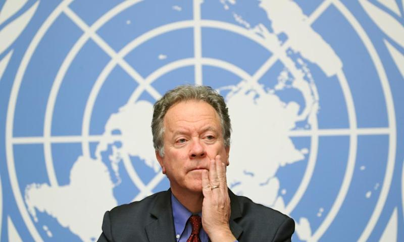 WFP Executive director David Beasley attends a news conference on the food security in Yemen at the United Nations in Geneva, Switzerland, 4 December 2018.