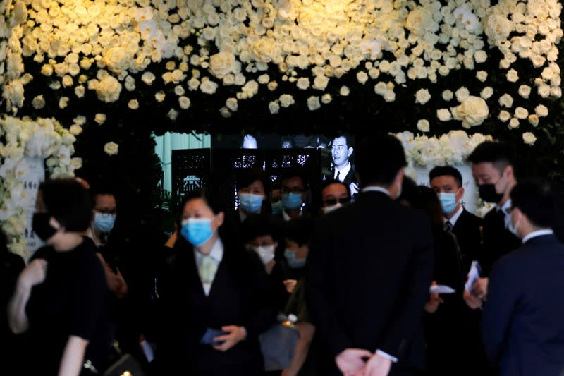 Photo of Macau gambling tycoon Stanley Ho is seen at his funeral reception, in Hong Kong