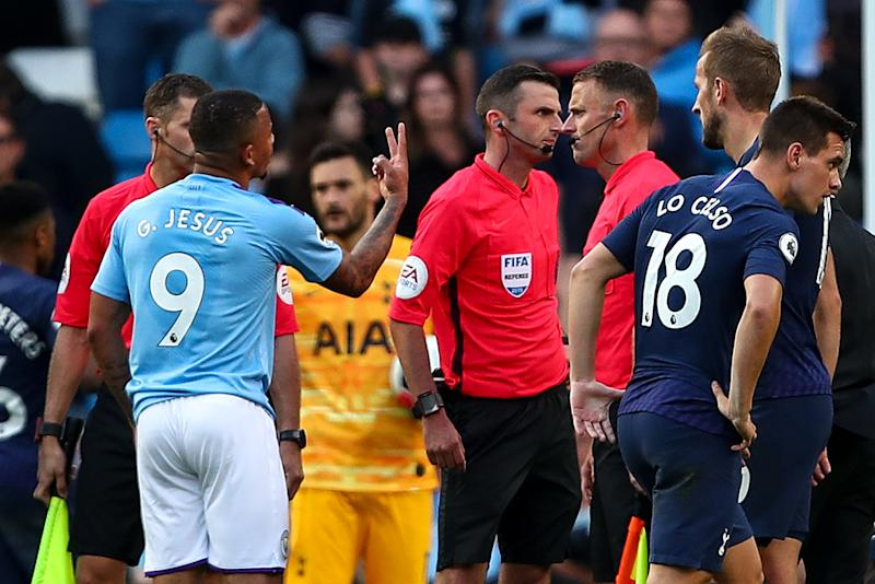 Gabriel Jesus of Manchester City protests to Referee Michael Oliver after his goal is ruled out for a hand ball via VAR. (Photo by Robbie Jay Barratt - AMA/Getty Images)