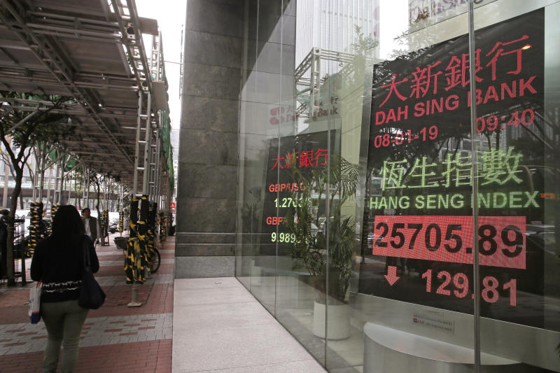 People walk past an electronic board showing Hong Kong share index outside a local bank in Hong Kong Monday, Jan. 8, 2019. Shares were mixed in Asia on Tuesday as officials kept silent on talks in Beijing aimed at resolving trade tensions with the U.S. (AP Photo/Vincent Yu)