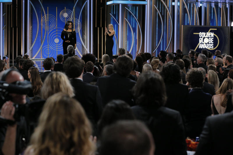 Oprah Winfrey accepts the 2018 Cecil B. DeMille Award during the 75th Annual Golden Globe Awards on Sunday. (Handout via Getty Images)